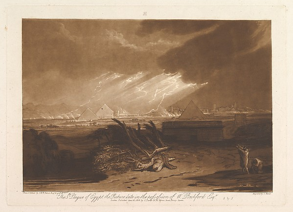 Fascinating Historical Picture of Joseph Mallord William Turner with The Fifth Plague of Egypt (Liber Studiorum part III plate 16) on 6/10/1808