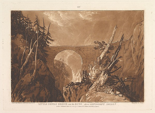 Fascinating Historical Picture of Joseph Mallord William Turner with Little Devils Bridge over the Russ above Altdorft Switzerland (Liber Studiorum part IV plate 19 on 3/29/1809