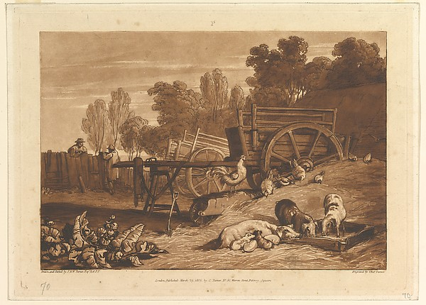 Fascinating Historical Picture of Joseph Mallord William Turner with The Farm-Yard with the Cock (Liber Studiorum part IV plate 17) on 3/29/1809