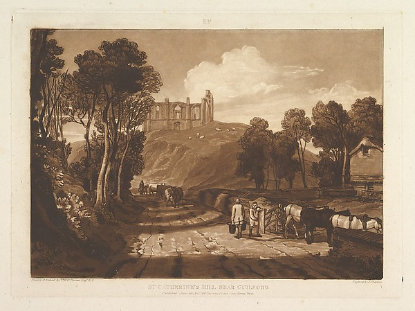 Fascinating Historical Picture of Joseph Mallord William Turner with St. Catharines Hill near Guilford (Liber Studiorum part VII plate 33) on 6/15/1811