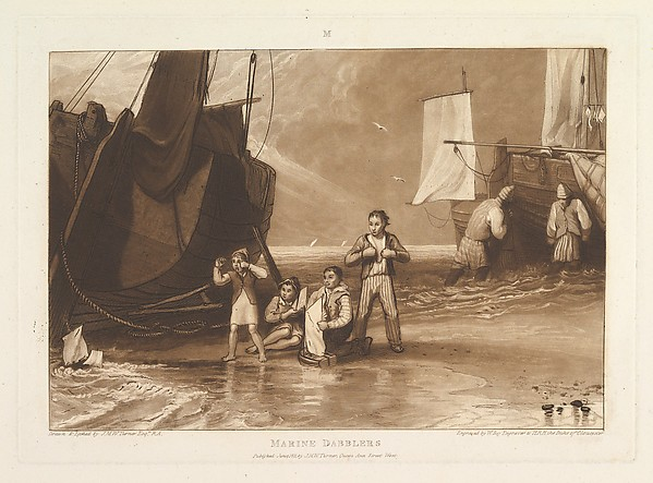 Fascinating Historical Picture of Joseph Mallord William Turner with Marine Dabblers (Liber Studiorum part VI plate 29) on 6/15/1811