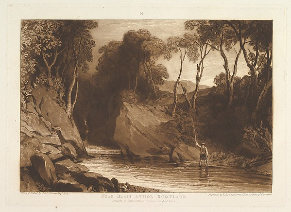 Fascinating Historical Picture of Joseph Mallord William Turner with Near Blair Athol Scotland (Liber Studiorum part VI plate 30) on 6/1/1811