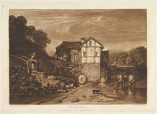 Fascinating Historical Picture of Joseph Mallord William Turner with Water Mill (Liber Studiorum part VIII plate 37) on 2/1/1812