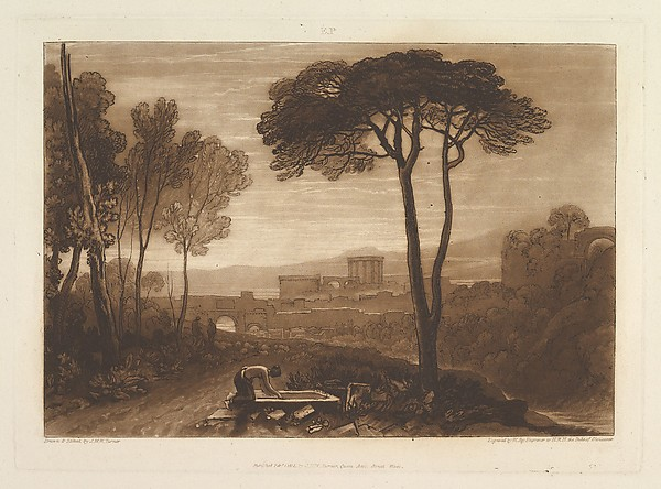 Fascinating Historical Picture of Joseph Mallord William Turner with Scene in the Campagna (Liber Studiorum part VIII plate 38) on 2/1/1812