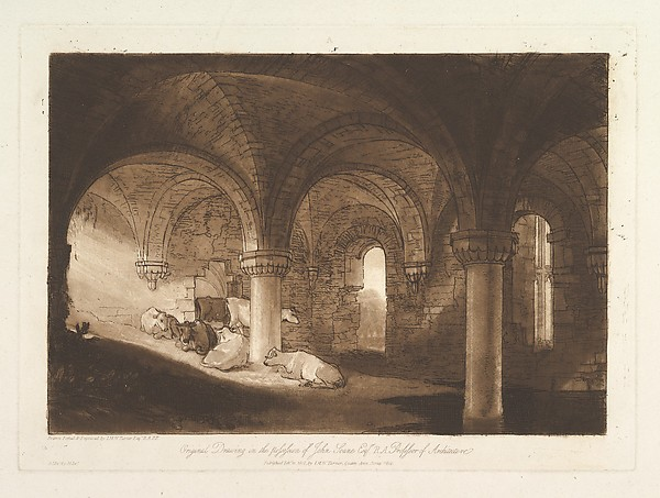 Fascinating Historical Picture of  with Crypt of Kirkstall Abbey (Liber Studiorum part VIII plate 39) on 2/11/1812