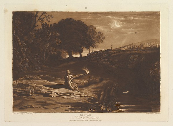 Fascinating Historical Picture of Joseph Mallord William Turner with Rispah 2nd Book of Samuel Chapter 21 (Liber Studiorum part IX plate 46) on 4/23/1812