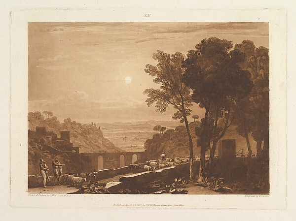 Fascinating Historical Picture of Joseph Mallord William Turner with The Bridge and Goats (Liber Studiorum part IX plate 43) on 4/23/1812