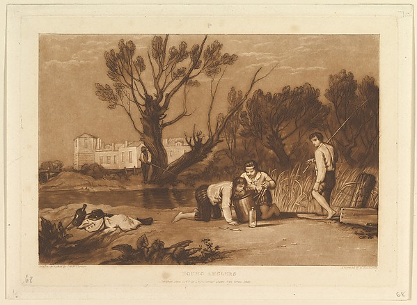 Fascinating Historical Picture of Joseph Mallord William Turner with Young Anglers (Liber Studiorum part VII plate 32) on 6/1/1811