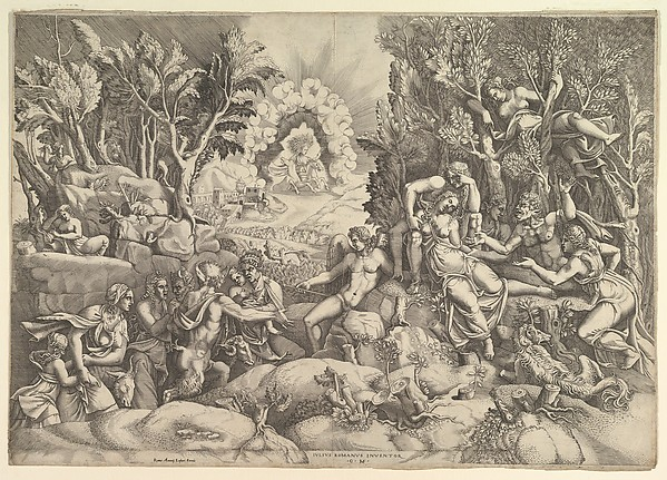 The Death of Procris; Cephalus mournig the death of Procris on the right surrounded by Cupid and mourning satyrs and nymphs, the goddess of dawn in her chariot in the background