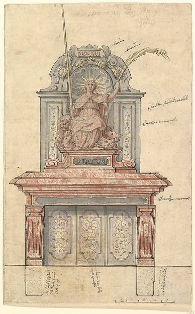 Design for a Chimneypiece with a Personification of Virtue