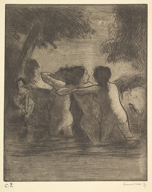 Fascinating Historical Picture of Camille Pissarro with Four Bathers in 1895