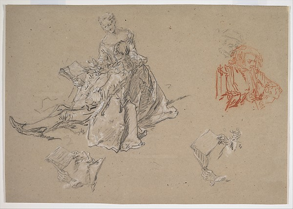 Studies of a Couple Seated on the Ground, Looking at a Songbook