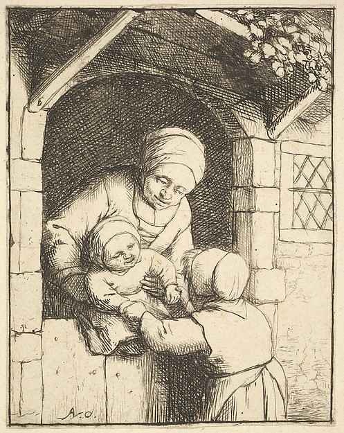 Little Girl Playing with a Baby in its Mother's Arms