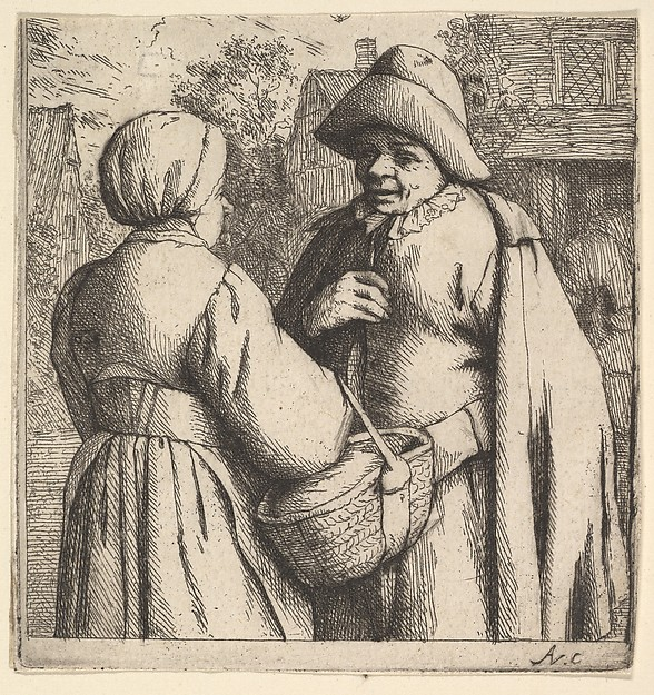 Fascinating Historical Picture of Adriaen van Ostade with Conversation in the Street in 1610