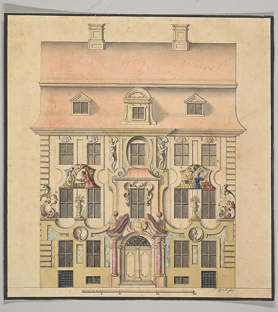Fascinating Historical Picture of Ferenc with Architectural Design for a Faade in 1739