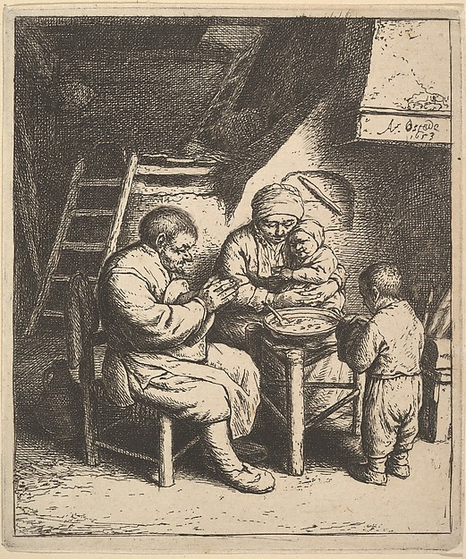 Fascinating Historical Picture of Adriaen van Ostade with The Blessing in 1610