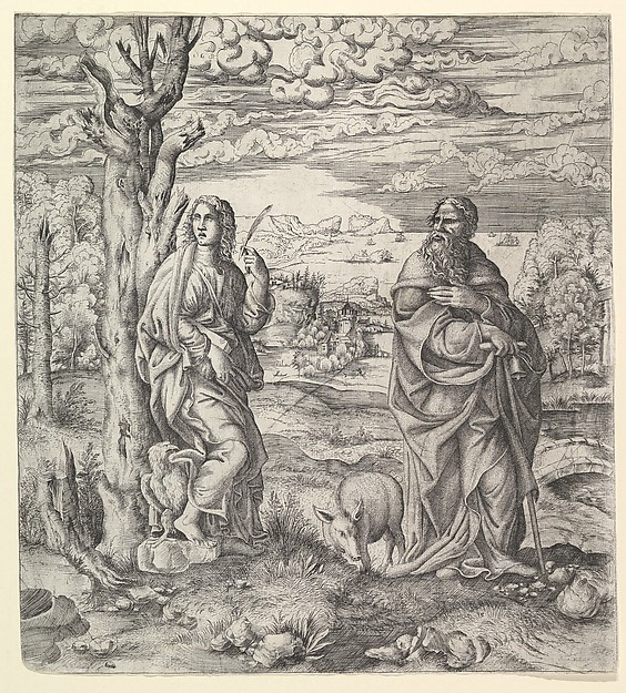 Fascinating Historical Picture of Master I 0 V with Saint John and Saint Anthony in 1543