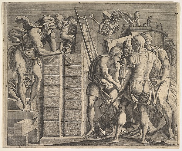 Fascinating Historical Picture of the Story of Cadmus with Cadmus Building Thebes in 1543