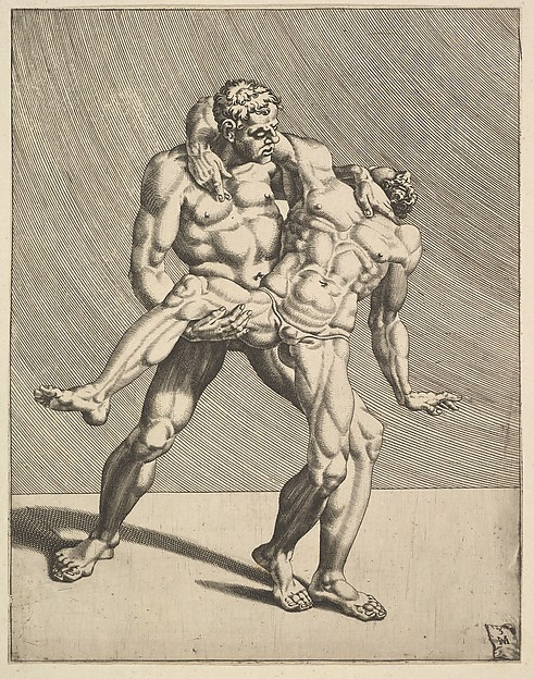 Fascinating Historical Picture of Dirk Volckertsz Coornhert with Wrestlers from Wrestlers plate 3 in 1552