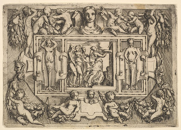 The Cumeaean sibyl walking to the right and carrying a tray, followed by three women, set within an elaborate frame