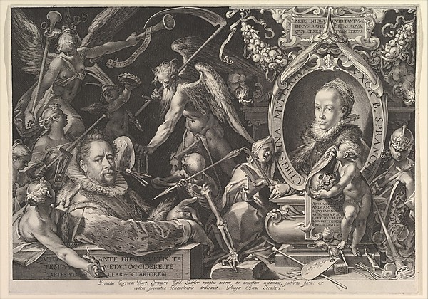 Portrait of Bartholomeus Spranger with an Allegory on the Death of his Wife, Christina Muller