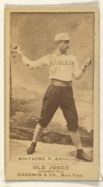 Whitacre, Pitcher, Philadelphia Athletics, from the Old Judge series (N172) for Old Judge Cigarettes