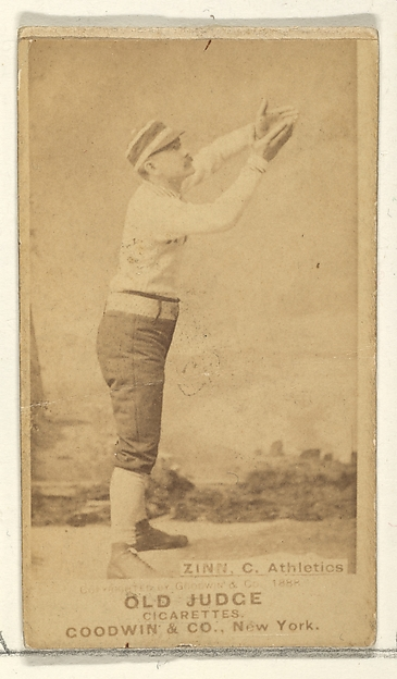 Zinn, Catcher, Philadelphia Athletics, from the Old Judge series (N172) for Old Judge Cigarettes