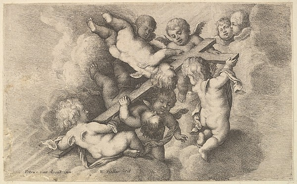 Seven putti carrying the cross