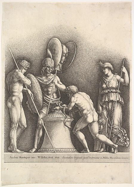 Fascinating Historical Picture of Wenceslaus Hollar with Four classical figures (pagan sacrifice) in 1638