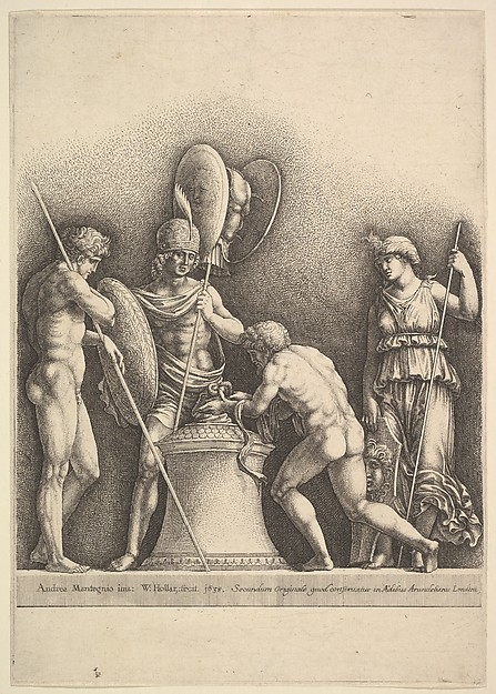 Fascinating Historical Picture of Andrea Mantegna with Four classical figures (pagan sacrifice) in 1638