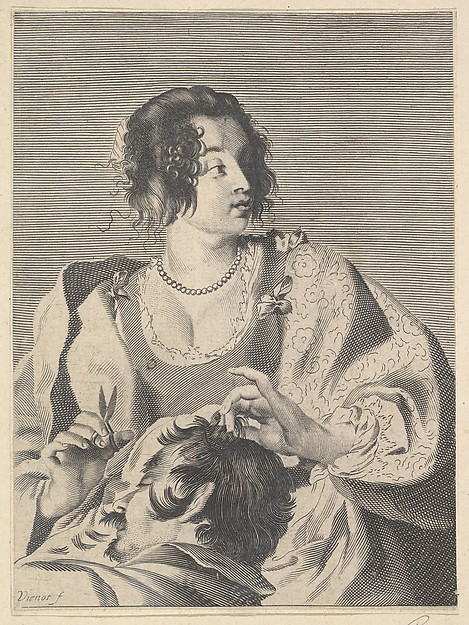 Fascinating Historical Picture of Nicolas Viennot with Delilah preparing to cut Samsons hair with scissors in her right hand below her chest are the head in 1630