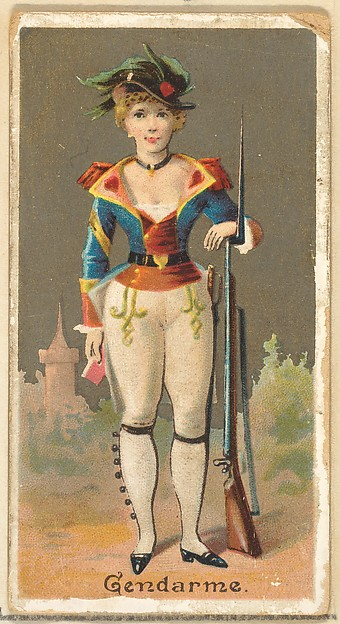 Gendarme, from the Occupations for Women series (N166) for Old Judge and Dogs Head Cigarettes