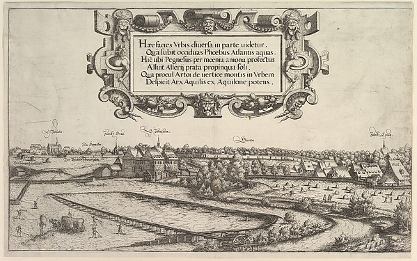 Fascinating Historical Picture of Hanns Lautensack with View of Nuremberg to the west; left center and right plates in 1552