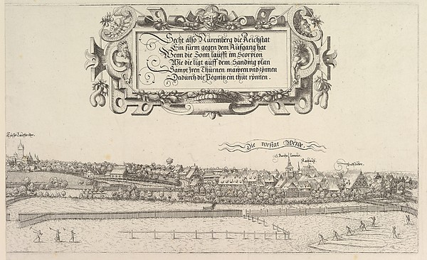 Fascinating Historical Picture of Hanns Lautensack with View of Nuremberg to the east right plate in 1552