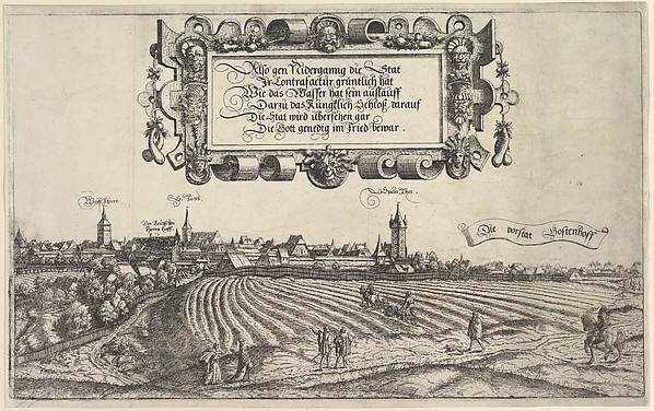Fascinating Historical Picture of Hanns Lautensack with View of Nuremberg to the west right plate in 1552