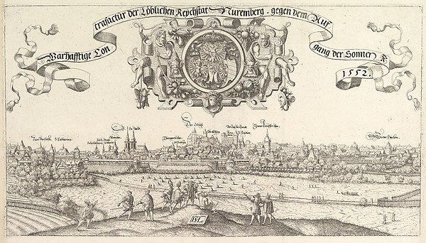 Fascinating Historical Picture of Hanns Lautensack with View of Nuremberg to the east center plate in 1552