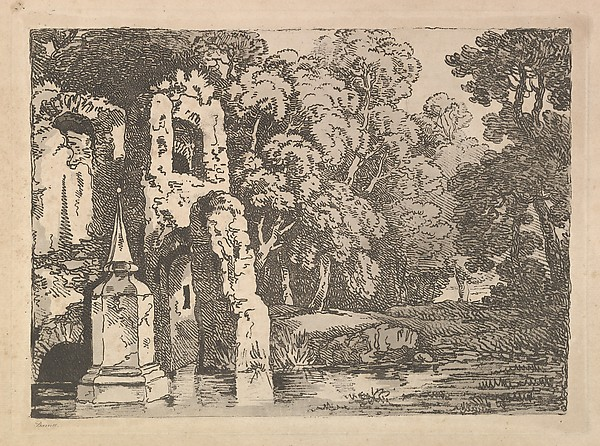 Ruins Next to a Pool in a Wooded Landscape (from Imitations of Modern Drawings)