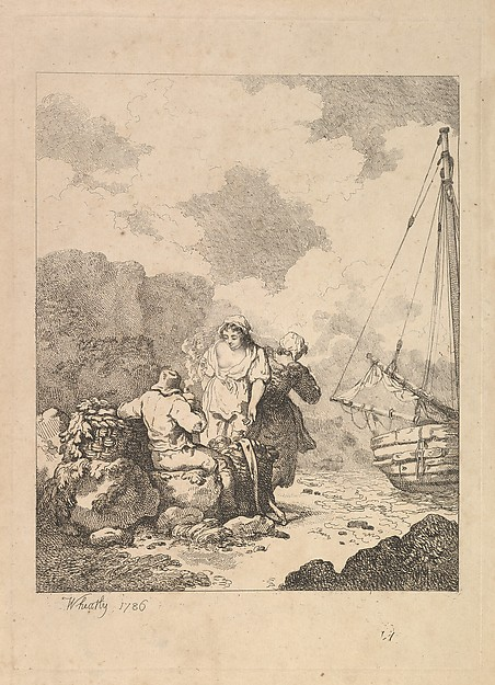 Fishermen by the Shore – Coastal Scene with a Man Sitting on Rocks and Smoking a Pipe, Next to a Standing Young Woman, with a Second Woman Behind (from Imitations of Modern Drawings)