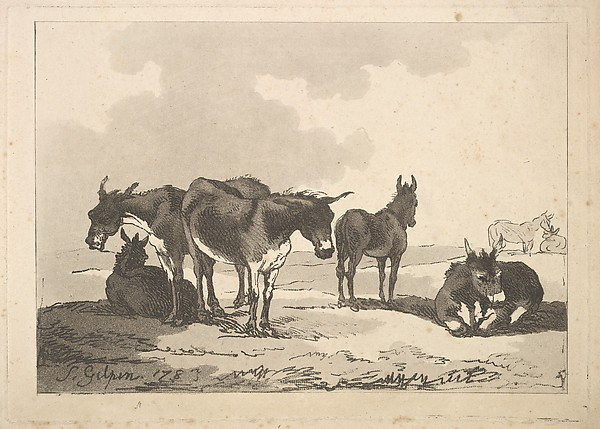 A Group of Five Donkeys, Three Standing, Two Lying (from Imitations of Modern Drawings)