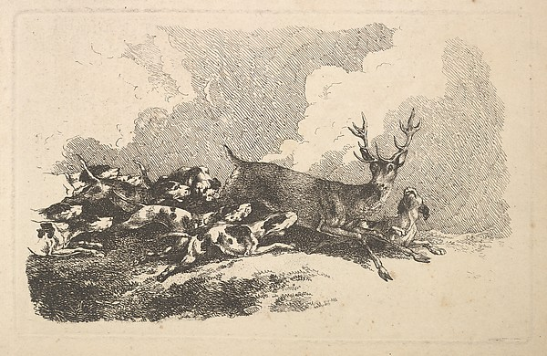 Hounds Hunting a Stag (from Imitations of Modern Drawings)