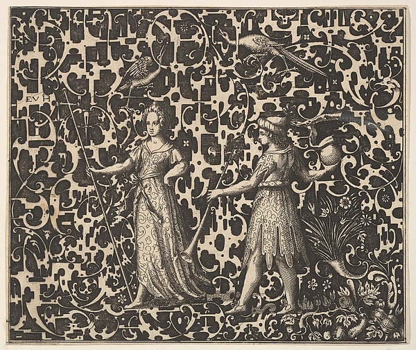 Fascinating Historical Picture of Esaias von Hulsen with Ornament Print with Schweifwerk and Two (Allegorical?) Figures in 1615