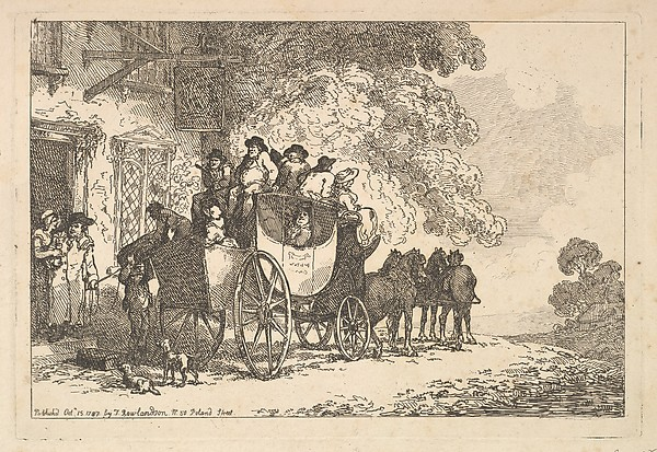 Fascinating Historical Picture of Thomas Rowlandson with Stage Coach Setting Out from a Posting House on 10/15/1787