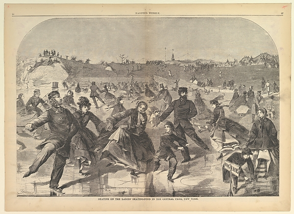 Fascinating Historical Picture of Winslow Homer with Skating on the Ladies Skating Pond in Central Park New York (Harpers Weekly Vol. IV) on 1/28/1860