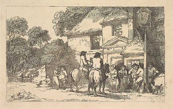 Fascinating Historical Picture of Thomas Rowlandson with The Three Horsehoes a Roadside Inn on 12/18/1787