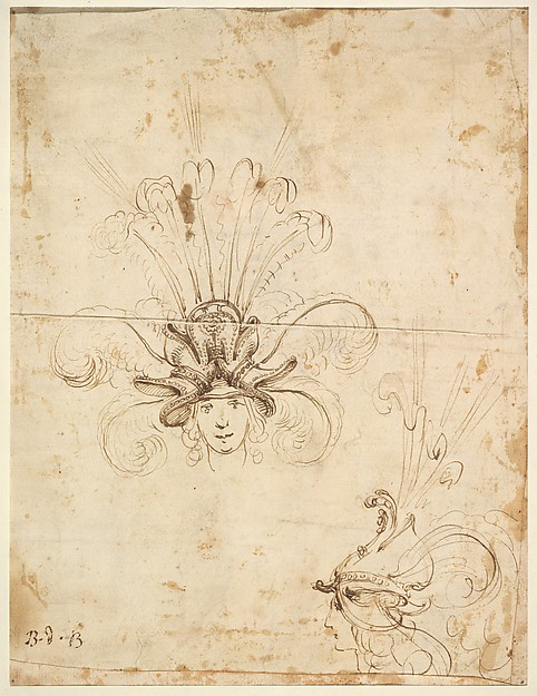 Fascinating Historical Picture of Baccio del Bianco with Design for a Headdress (front and side view) in 1620
