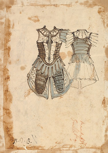 Fascinating Historical Picture of Baccio del Bianco with Design for a Soldiers Costume with a Cuirass (front and back) in 1620