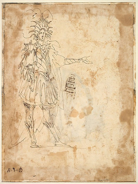 Fascinating Historical Picture of Baccio del Bianco with Costume Design with a Large Headdress and Long Cape in 1620
