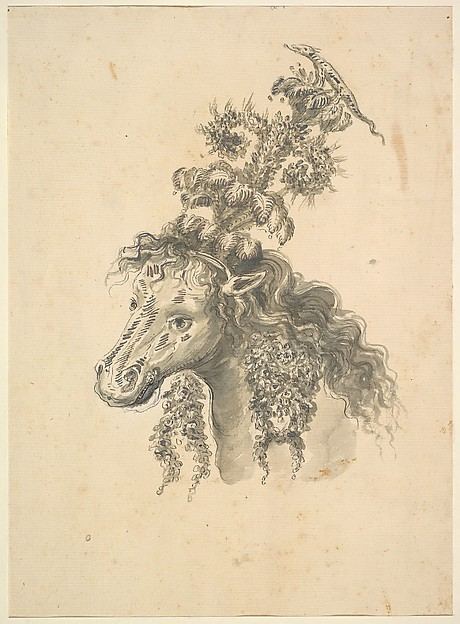 Fascinating Historical Picture of Baccio del Bianco with Design for the Headdress of a Horse Crowned by a Small Lizard in 1620
