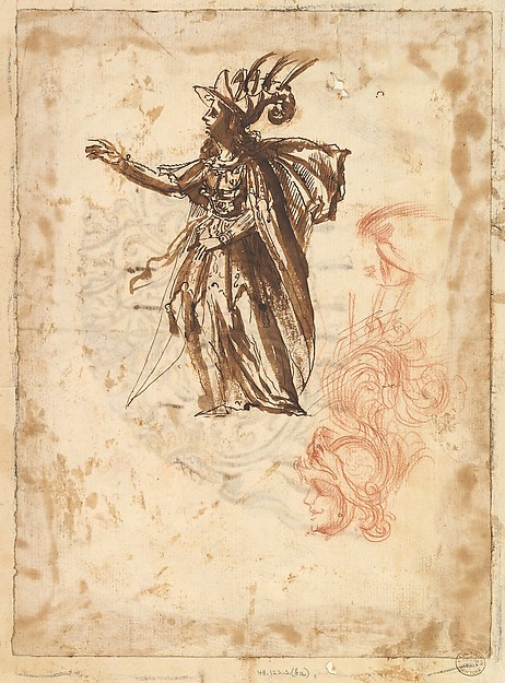 Fascinating Historical Picture of Baccio del Bianco with Costume Design and Design for a Headdress in 1620