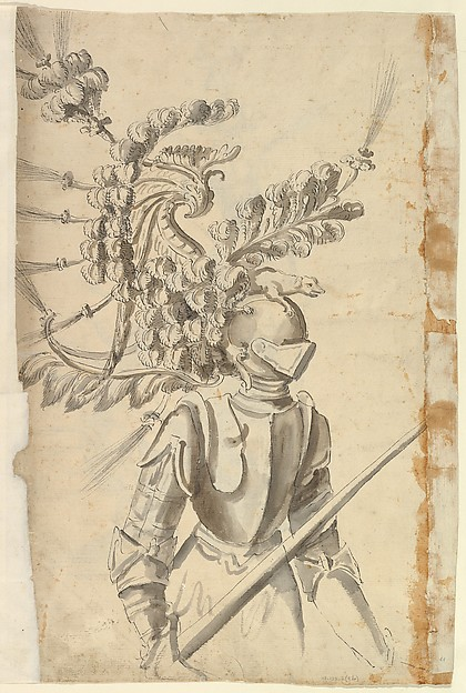 Fascinating Historical Picture of Baccio del Bianco with Design for an Armor with Tournament Headdress in 1620